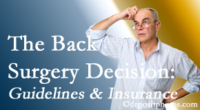 Wilson Family Chiropractic notes that back pain sufferers may choose their back pain treatment option based on insurance coverage. If insurance pays for back surgery, will you choose that?
