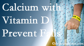 Calcium and vitamin D supplementation may be recommended to Millville chiropractic patients who are at risk of falling.