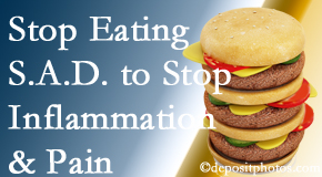 Millville chiropractic patients do well to avoid the S.A.D. diet to decrease inflammation and pain.