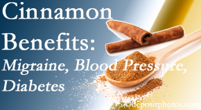 Wilson Family Chiropractic shares research on the benefits of cinnamon for migraine, diabetes and blood pressure.