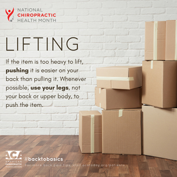 Wilson Family Chiropractic advises lifting with your legs.