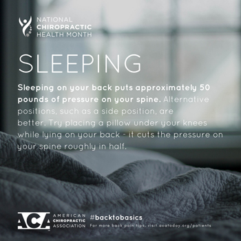 Wilson Family Chiropractic recommends putting a pillow under your knees when sleeping on your back.
